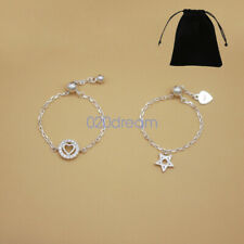 Real 925 Sterling Silver Adjustable Thumb/Index/Mid Ring Finger Chain Star/Heart