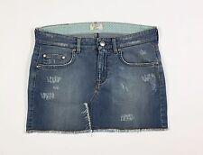 Blugirl mini gonna jeans 42 W28 gonna azzurra corta vita bassa strappi T806