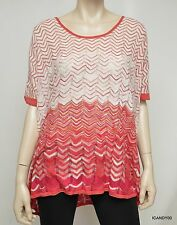 Nwt $198 BCBG Max Azria Silk Blend Chevron Poncho Knit Sweater Top Pink S