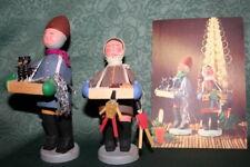 60s Rare Vtg German CHRISTMAS MARKET VENDORS Wooden Dolls Figurines Mother's Day