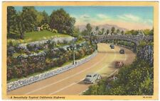1946 Riverside, CA Old cars on California Highway, linen postcard