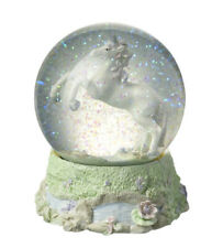 More details for beautiful fantasy mythical unicorn glitter water snow globe ball ornament