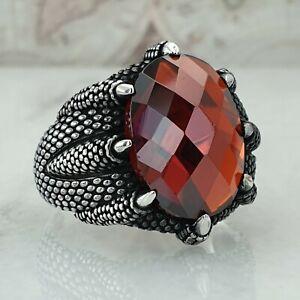 Claw 925 Sterling Silver Red Garnet Gemstone Men Ring Handmade Ottoman Size Z