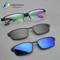 Eyeglasses Frame with 2pcs Magnetic Clip On Polarized Sunglasses Driving Glasses