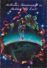 Hungary winter seasonal greetings postcard Christmas New Year clock map