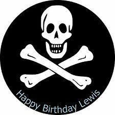 Jolly Roger Pirate Party Edible Rice Paper (7.5 in) Cake Topper add any message