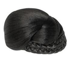 """Synthetic Hair Bun hairpiece Clip on Medium Dome, one Side Braid -  5"""""""