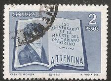 "Argentina Stamp - Scott #726/A296 2p Blue ""Mariano Moreno"" Used/LH 1961"