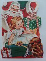 1950-60s Vtg Little GIRL w SANTA & PUPPY Sunshine CHRISTMAS GREETING CARD