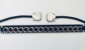 16 CH D-Sub Patchbay XLR Neutrik 1U Faceplate Mogami Loom Studio
