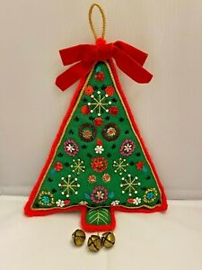 Vtg FINISHED Bucilla Sequined Tree with Bells Felt Sequin Christmas Decoration