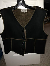 JILL STUART BLACK / LIGHT BROWN SHEARLING VEST EUC W-MEDIUM REAL FUR SHEARLING