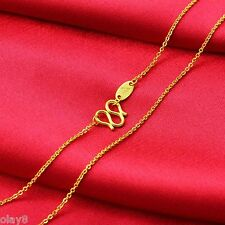 Fine Solid 999 24K Yellow Gold Chain Women's O Link Necklace 16.5inch
