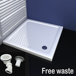 Square stone tray for shower enclosure glass door free waste 700 800 900 1000