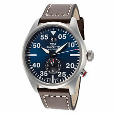 Glycine Men's GL0365 Airpilot Dual Time 44mm Blue Dial Leather Watch