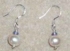 Handmade Natural Freshwater Pearl and Tanzanite and Sterling Silver Earrings