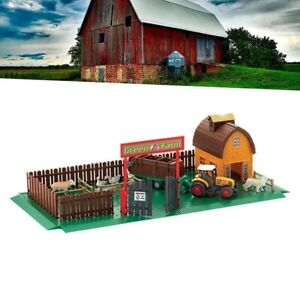 FARM HOUSE WITH TRACTOR AND ANIMALS BARN FENCE PORT HARVESTMAN FIGURE