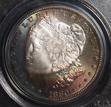 1880 S Morgan Silver Dollar CAC PCGS NICE RARE NEON RAINBOW TONING 1 OF A KIND