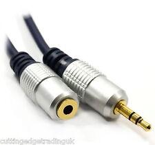 Auriculares Cable de extensión de 3,5 mm estéreo jack socket Auxiliar De Audio Lead Oro 1,5 m