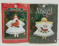 2 Holiday Time & Needle Inc Angels Cardinals Counted Cross Stitch Ornament Kits