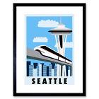 Travel Seattle Washington Monorail Space Needle Framed Wall Art Print