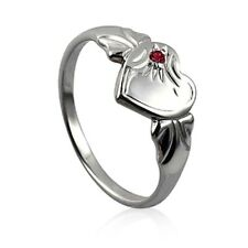 GIRLS /LADIES STERLING SILVER SIGNET RING WITH  BIRTH MONTH COLOURED CZ STONE