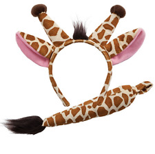 Adult / Child Giraffe Ears and Tail Set Fancy Dress Headband Costume Accessory