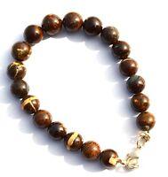 """Natural Gem Australian Boulder Opal Flashy Fire 10MM Round Beads Bracelet 7.5"""""""