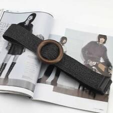 UK Women Elastic Straw Woven Belt Strap Casual Dress Belt Wood Buckle Waistband