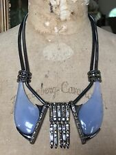 ALEXIS BITTAR Blue Clear Lucite CUBIST Tassel Bib Necklace, GREAT FOR PINS!!