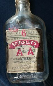 Vintage Ancient Age Bourbon Whiskey 6 years old Bottle Half Pint Empty