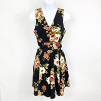 Haute Monde Womens Floral Fit And Flare Dress With Zip Closure Size Medium