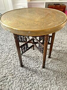 Antique Brass Folding Table Hunting Scene,Circular, Wooden decorated Legs