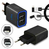 Travel Dual USB Port Wall Charger 2-Pin Plug Compatible with EU European Socket