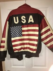 Misty Harbor Mens Med Faux Leather USA American Flag Full Zip Jacket Used nice