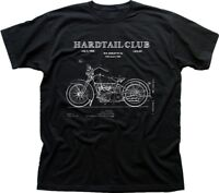 Motorcycle Hardtail Custom Chopper Club Biker patent art black t-shirt FN9286