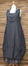 LAGENLOOK LINEN STRIPED BALLOON 2 POCKETS LONG DRESS***CHARCOAL***BUST UP TO 44""