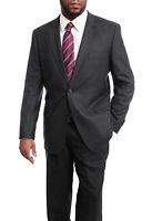 Men's Arthur Black Classic Fit Dark Charcoal Gray Mini Check 2 Button Wool Suit