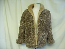 "Ladies Fur Jacket brown open style, bust up 40"", length 25"", vintage, 1083"