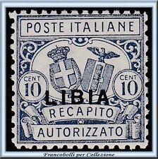Colonie Italiane 1929 Libia Recapito Autorizzato n. 1 Centrato Nuovo Integro **