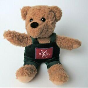 "Vintage Hallmark Oatmeal Teddy Bear 9"" Plush Green Velvet Snowflake Overalls"