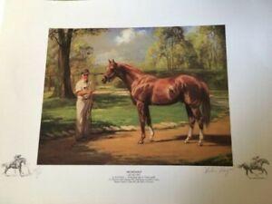 Beautiful Secretariat Horse Racing Print Signed / Num 319/500 Artist Helen Hayse