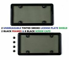 2 Universal Black Frames + 2 Tinted Smoke License Plate Shield for Cars New