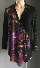 Pre-owned Bright Multi Colour & Print HOT SYDNEY Long Sleeve Shirt Size 10