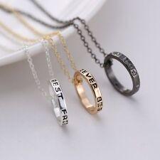 "3PCS Engraved ""Best Friends"" Silver Colorful Pendant Friendship Forever Necklace"