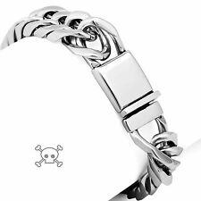 12mm Rocker Biker Punk Cuban Curb Silver 316L Stainless Steel Bracelet 7009