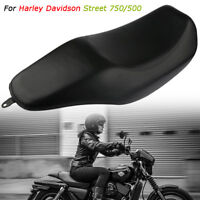 Black Motorcycle TWO-UP Saddle Seat Cinjoined Cushion For Harley Street 750 500