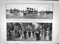 Original Old Antique Print 1902 Chinese Dragon Boat Shanghai Kensington 20th