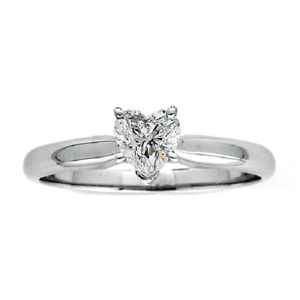 0.75 Ct Heart-Shaped Diamond Solitaire Wedding Ring 18K White Gold Sz 9
