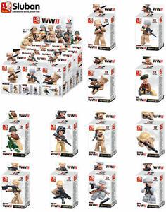 Sluban WWII Army Soldier Mini Figures Building Blocks Bricks Toy Kit Box Of 12